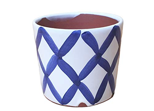 Reed Cache Pot: Stitches Pattern, Blue. Medium Terracotta Planter - Glazed Earthenware Planters