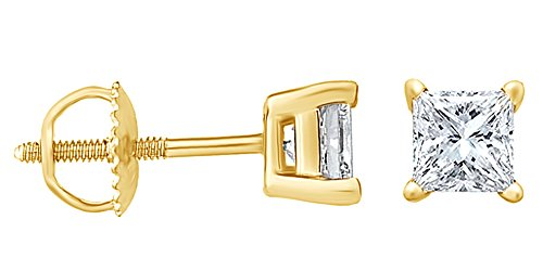 Natural Diamond Princess cut Stud (IGI Certified 0.70 ct & up) Plus Quality Earrings in 14K Solid Yellow Gold, (0.04ct - 2.00ct, Clarity - I2- I3) Plus Quality 0.1 Ct Princess Diamond