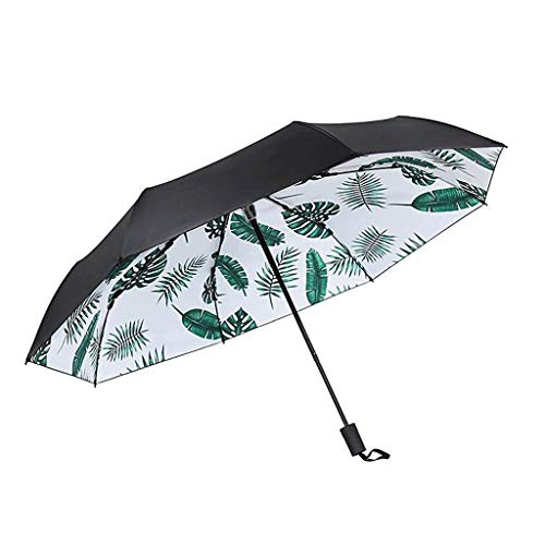 Umbrellas Banana Leaves Sun Sunscreen Sun Black Plastic Creative Fresh Dual Use Sunny Female Folding (Color : A)