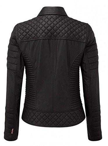 Larga chaqueta guateada Fashion First para mujer negro Chaqueta Manga gqTWv7W
