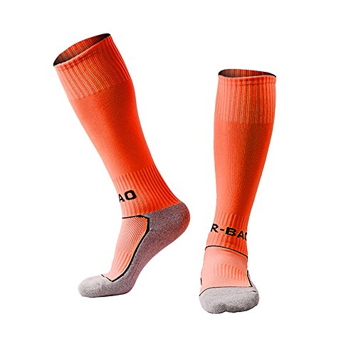 LITAO for Little Boys/Girls Outfits Compression Long Sport Soccer Socks 2 Pack (Kids/Youth Gifts) (Orange)