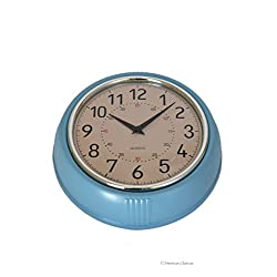 Small Retro 1950's-Style Quartz Blue Designer Kitchen Wall Clock Diner Decor