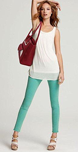 ANNA GRACE - Bolso al hombro de piel sintética para mujer Design 1 - Burgundy
