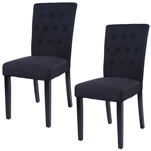 Giantex Set of 2 Fabric Dining Chair Armless Chair Home Kitchen Living Room Furniture (Black)
