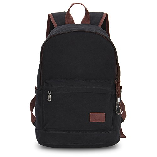 Hynes Eagle Vintage Canvas Backpack Unisex Casual Daypack 23 Liters (Black)