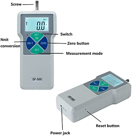 Digital Force Gauge SF-500N Pull Tester Dynamometer Portable Tension Pressure Thrust Meter Pressure High Precision Push Tester LCD Display