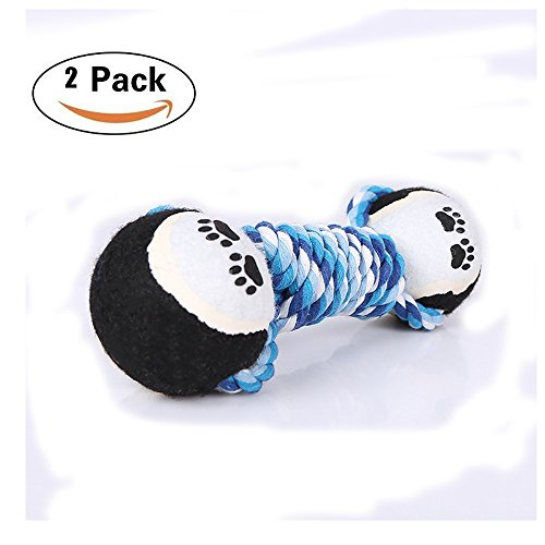 2PCS Dog Chew Toys,Puppy Chew Teething Rope Toy Double Knots Blue Teeth Cleaning, Non-toxic,Dual Blue Tennis Ball Durable Pet Rope Toys for Small,Med Dog Chew Toys,Puppy Chew Teething Rope Toy ()