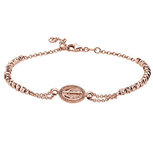 - D Jewelry 925 Sterling Silver Virgin Mary Charm V-Cut Beads Rosegold Plated Chain Bracelet Made in Italy