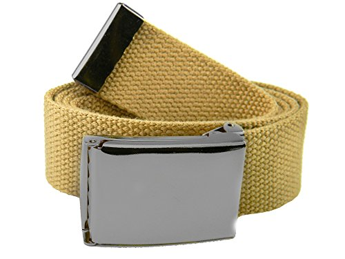 Men's 1.5 Polished Pewter Flip Top Belt Buckle with Canvas Web Belt X-Large Khaki