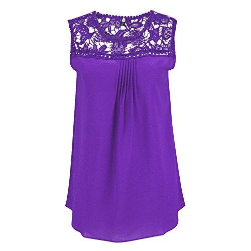Camisas Blusas Camisetas Tops sin Mangas Encaje Elegante y Confortable Púrpura