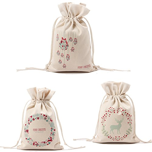 Price comparison product image KARRESLY Set of 3 Cotton Gift Bags Christmas Drawstring Travel Storage Pouch Multi-functional Bag Travel(3#)