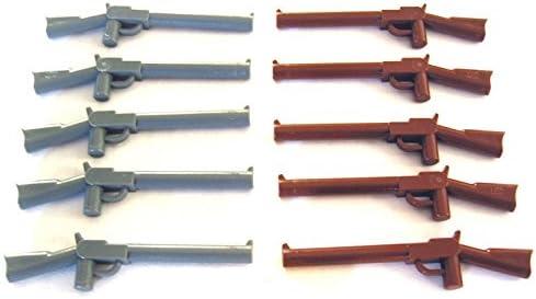 Lego Indiana Jones - Reddish Brown + Dark Bluish Gray Minifig Weapon Gun, Rifle (each 5x Loose)