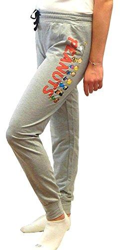 Peanuts Snoopy Charlie Brown Woodstock Women's Juniors Jogger Pant Legging Yoga Pants Grey (X-Large, Favorite Characters) -