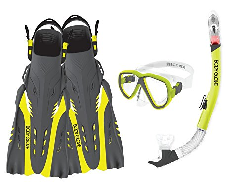 Body Glove Aquatic Enlighten II Mask Snorkel and Fins Set, Large/X-Large, Yellow/Black