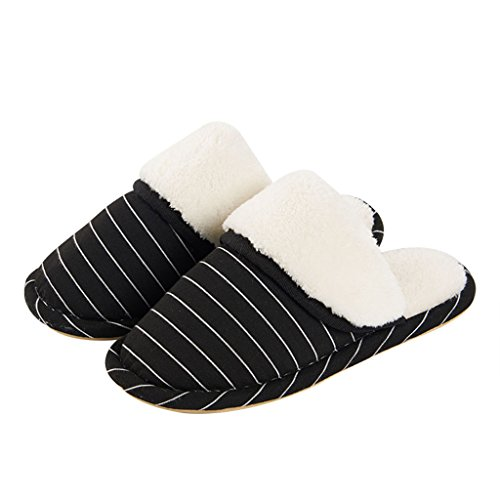 Hausschuhe DWW Baumwolle Männlichen Winter Indoor Slip Resistant Hause Warme Wasserdichte Striped Atmungsaktive Schuhe Schwarz