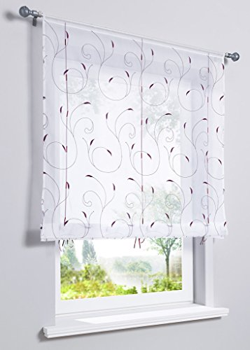 (LivebyCare 1pcs Country Style Leaves Embroidered Roman Shades Ribbon Liftable Organza Tab Top Rod Pocket Sheer Balcony Window Curtain for Bedroom)