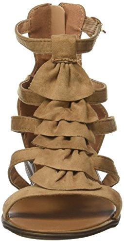 Angkorly - Zapatillas de Moda Sandalias Mules gladiator mujer fleco multi-correa tanga Talón Tacón ancho 2.5 CM - Camel