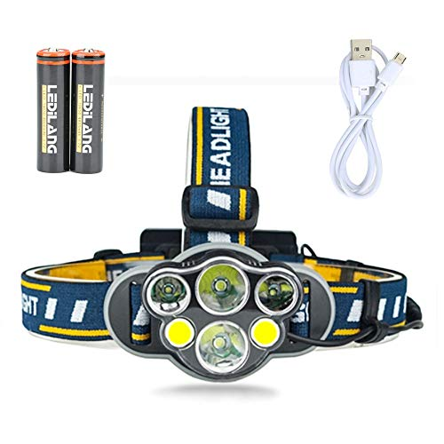 LINGSFIRE Headlamp Flashlight, 6 LED Lamps Head Torch 12000 Lumen Ultra Bright Headlight, 8 Modes Waterproof Head Lamp Hands-Free Headlamps Flashlight for Running Camping Hiking, USB Rechargeable (A)