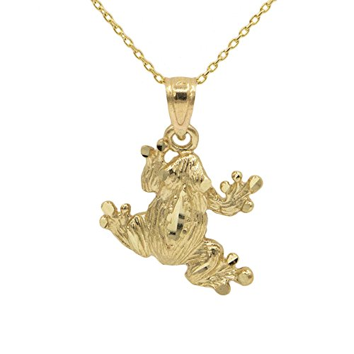 (Ice on Fire Jewelry 14k Yellow Gold Frog Pendant Necklace (18