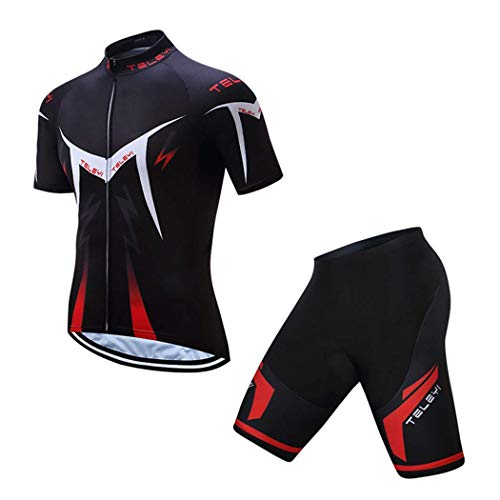 (TELEYI Cycling Clothing, Men's Soft Short Sleeve Breathable Bicycle Cycling Jersey Polyester Clothing, Quick-Dry Padded Bike Pants,C,M)