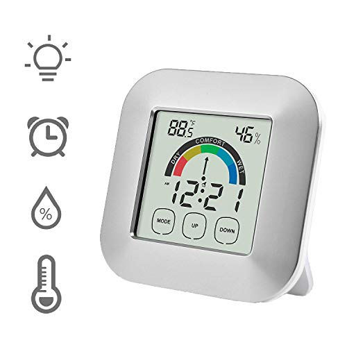 Price comparison product image Bien-Zs Touch Screen Digital Thermometer Hygrometer Alarm Clock Home Indoor Table Comfort Index Display Temperature Humidity Meter