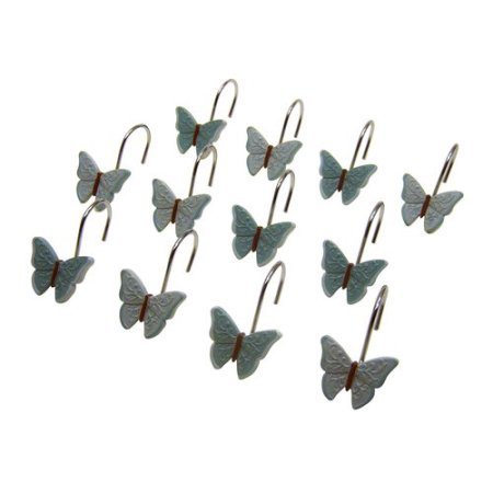 Mainstays Butterfly Blessing Decorative Bath Collection - 12 Piece Shower Hooks