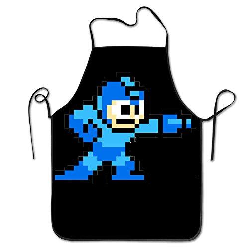 [Funny Adjustable Bib Apron Mega Man Pixel Video Game Robot Cooking Durable] (Megaman Halloween Costume)