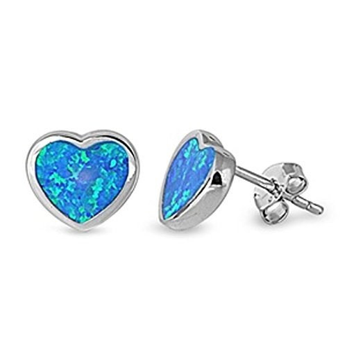 Sterling Silver Simulated Darker Blue Opal Heart Shaped Post Stud (Post Heart Shaped Opal Earrings)