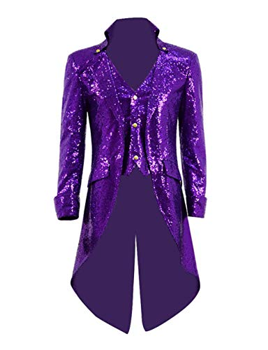 Qipao Mens Gothic Tailcoat Jacket Steampunk Victorian Coat Halloween Cosplay Costume Party Uniform (L, -