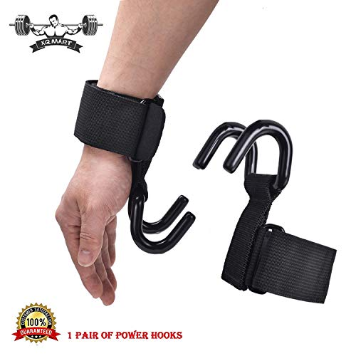 XQMART Weight Lifting Hooks with Non Slip Coating and Thick Neoprene Padded Wrist Wraps Designed for Grip Assist During Deadlifts, Rows, Pulldowns, and Shrugs ()