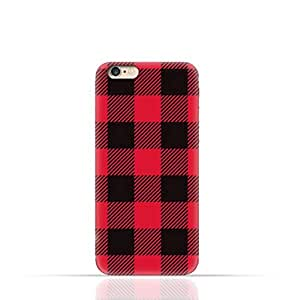 Apple iPhone 6 Plus/6 Plus S TPU Silicone Case with Red and Black Plaid Fabric Design