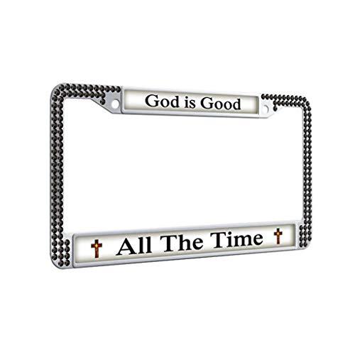 God License Plate Frame,God is Good All The Time License Plate Frame Waterproof Shining Car Tag Frame for men&women,Black]()