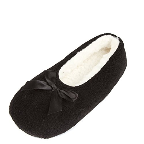 Leisureland Donna In Felpa Foderata In Tinta Unita, Comode Pantofole Nere