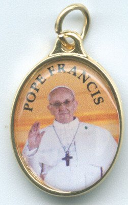 Pope Francis Gold Tone Full Color Medallion