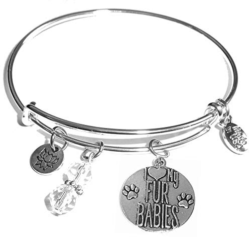 Hidden Hollow Beads Message Charm (84 Options) Expandable Wire Bangle Women's Bracelet, in The Popular Style, Comes in A Gift Box! (I Love My Fur Babies)