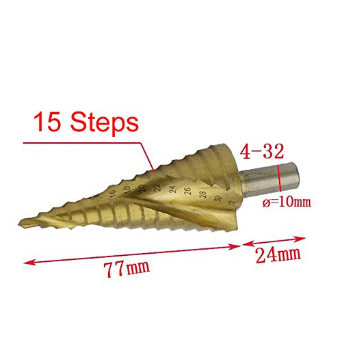 Daily Hardware 4-32mm HSS Spiral Groove Center Solid Carbide Titanium Step Cone Drill Bit ()
