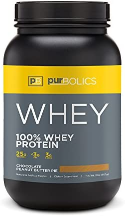 Purbolics Protein 100 Whey Protein Build Lean Muscle Improve Recovery 25g Protein 28 Servings Chocolate Peanut Butter Pie