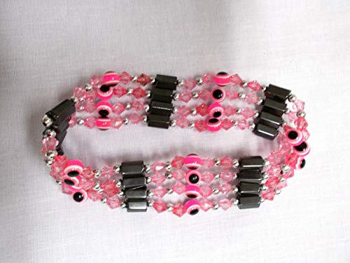 - NEON Pink Evil Eye Magnetic Hematite Beaded Strand WRAP Bracelet OR Necklace KEZ-1306