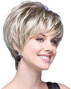 أبيض قصير شعر مستعار على التوالي