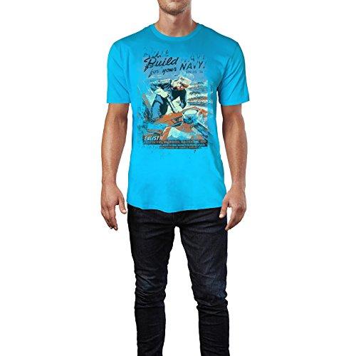 SINUS ART® Build for Your Navy Herren T-Shirts in Karibik blau Cooles Fun Shirt mit tollen Aufdruck