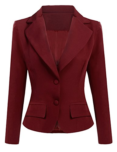 ANGVNS Women's Casual Work Office Slim Long Sleeve Lapel Shoulder Pad Business Blazer Jacket,Small,Dark Red by ANGVNS