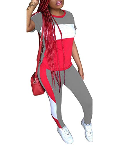 (Women's 2 Piece Outfits - Color Block Stripe Short Sleeve Round Neck Top Skinny Long Pants Tracksuit Set Grey)