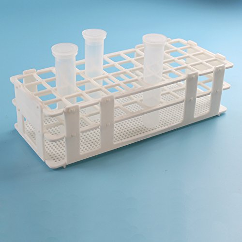 BIPEE Plastic Test Tube Rack for 20mm, 40 Wells, White,Detachable (40 Hole) (Rack Tube Test Plastic)