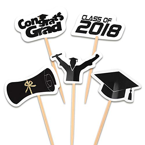 FEPITO 100 Pieces Toothpick Flags Cupcake Toppers Cheese Markers Graduation Party Cake Food Cheeseplate Appetizers
