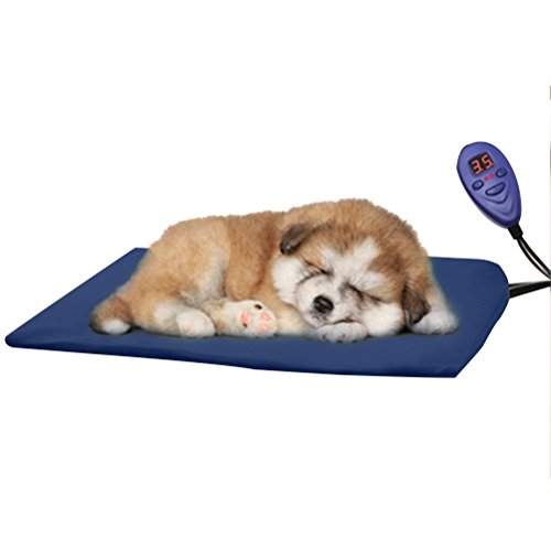 Sunlightam Pet Bed Heating Pad Temperature Control Soft Dog Cat Bunny Kitty Heater Mat Warm Mate Blanket Waterproof Chew Proof 12V Safty for Your Pets (Blue)