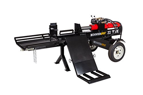 RuggedMade 37-Ton Horizontal Gas Log Splitter, 420cc 15hp Engine Electric Start w/Log Lift & Catcher