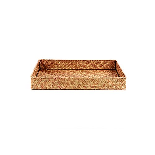 BAMONA Natural Handmade Straw Woven Square Wicker Tea Tray Bread Roll Food Serving Basket Fruit Storage Container Draining Plate (Orange-1 - Basket Serving Square