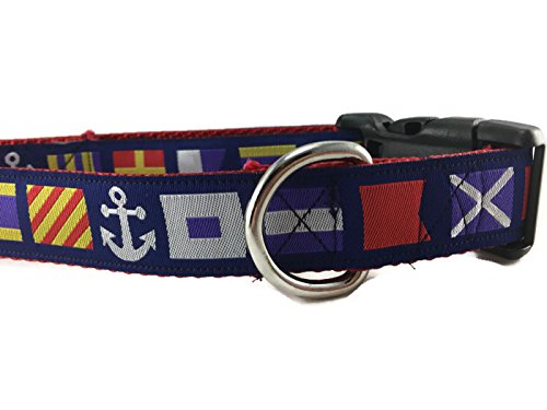 CANINEDESIGN QUALITY DOG COLLARS Nautical Dog Collar, Caninedesign, Quick Release Buckle, 1 inch Wide, Adjustable, Nylon, Medium and Large (Nautical Flags, Large 15-22