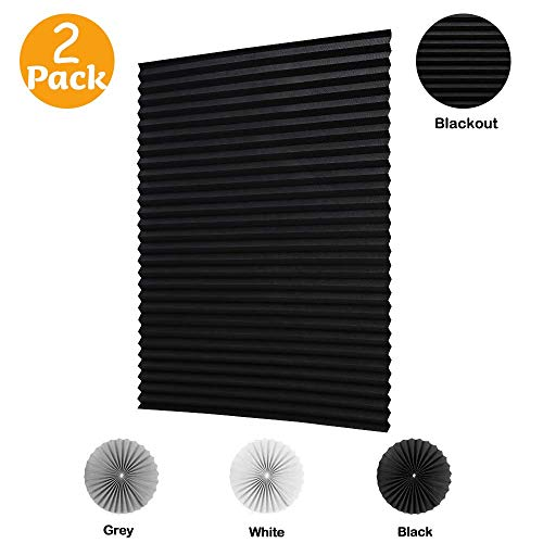 "LUCKUP 2 Pack Cordless Blackout Pleated Fabric Shade,Easy to Cut and Install, with 4 Clips (36""x72"" - 2 Pack, Black)"