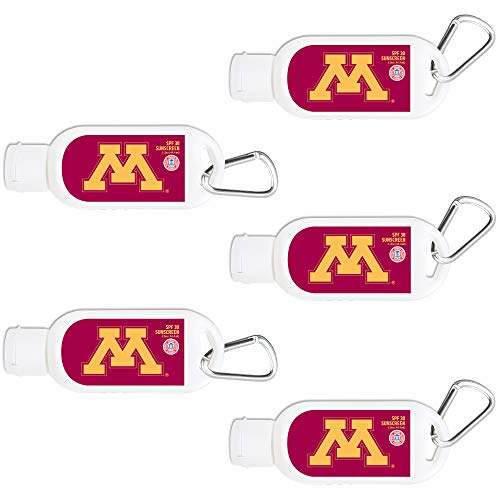 (Minnesota Golden Gophers Sport Sunscreen 5-Pack SPF 30 Travel Size with Clip, Water and Sweat Resistant 80 Minutes, UVA UVB Protection. Gifts for Men and Women.)